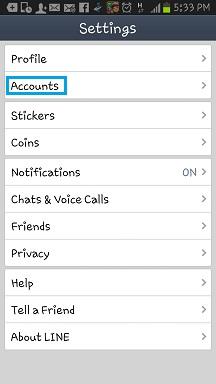 LINE บน Android เลือก Settings