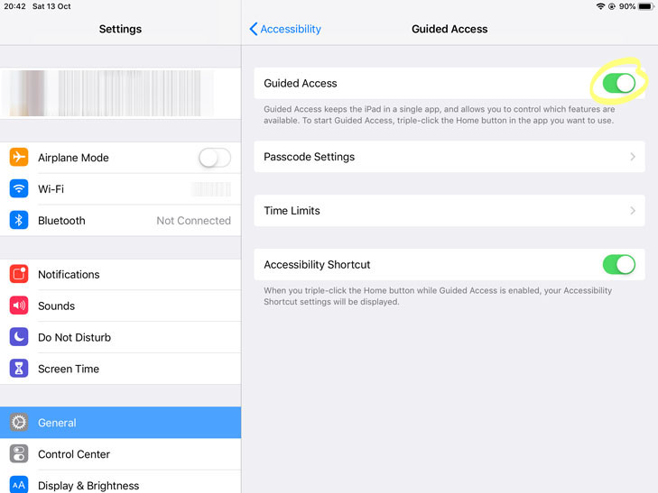 Settings - Accessibility - Guided Access