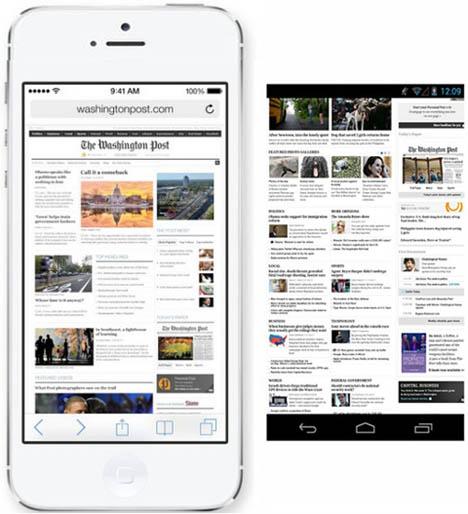 เปรียบเทียบ Full Screen ของ iOS 7 และ Android 4 Jelly Bean ของ Google