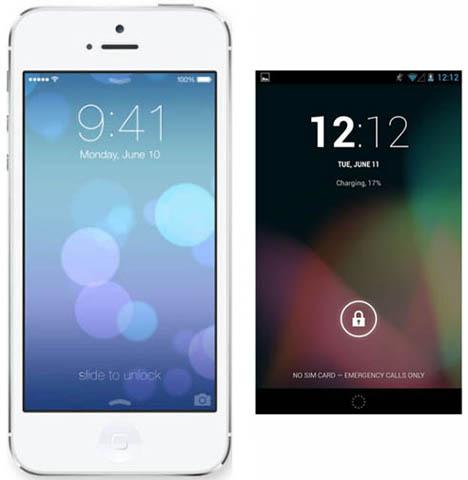 เปรียบเทียบ Lock Screen ของ iOS 7 และ Android 4 Jelly Bean ของ Google