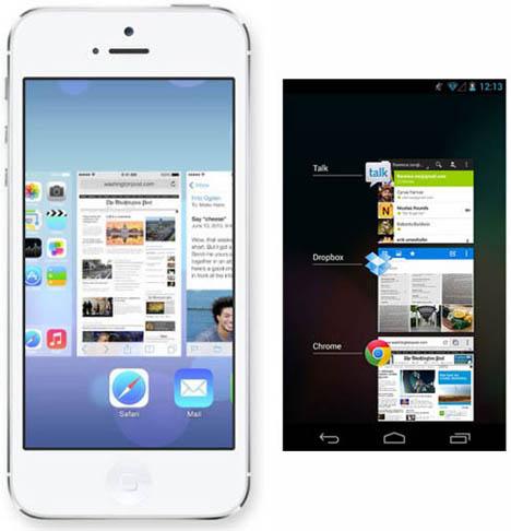 เปรียบเทียบ Multitasking Screen ของ iOS 7 และ Android 4 Jelly Bean ของ Google