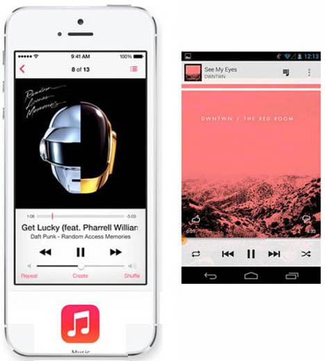 เปรียบเทียบ Music Player ของ iOS 7 และ Android 4 Jelly Bean ของ Google