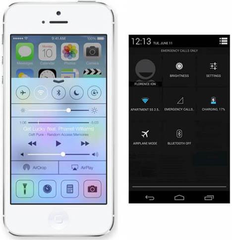เปรียบเทียบหน้าจอการตั้งค่า ของ iOS 7 และ Android 4 Jelly Bean ของ Google