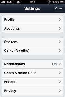 LINE บน iOS เลือก Settings