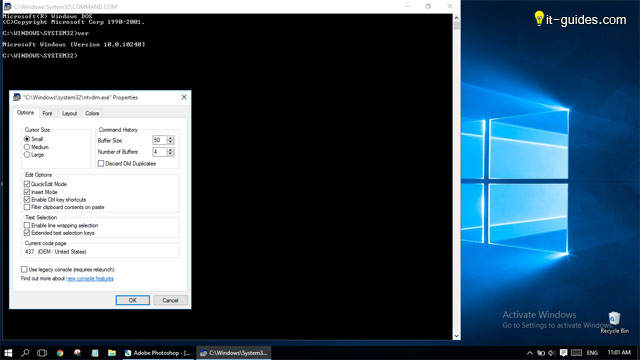 Command prompt on Windows 10
