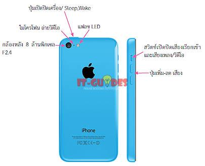 ส่วนประกอบของ iPhone 5C ด้านหลัง