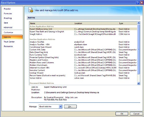 Add-ins Excel 2007