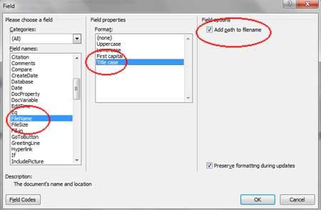 Add Path FileName Word 2010