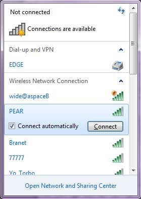 Connect Wireless Windows 7