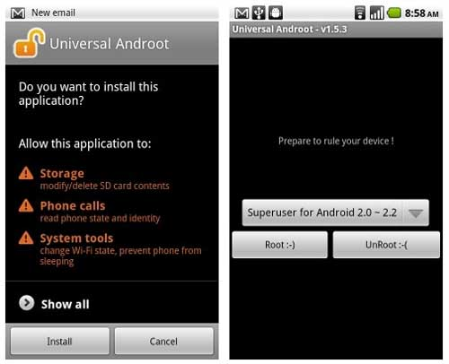 How to root with Universal Androot