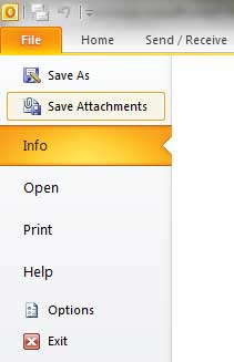 Save Attachments Outlook 2010