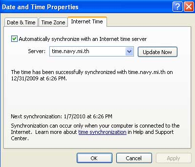 Time Synchronizze Windows XP