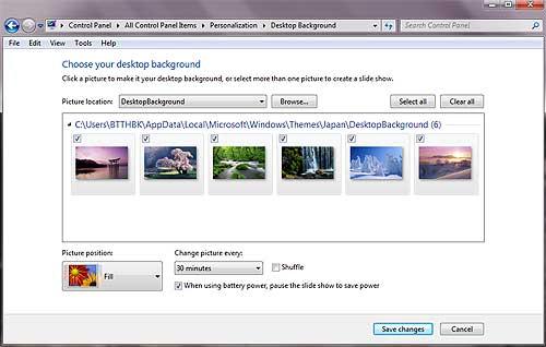Windows 7 Theme Change Background