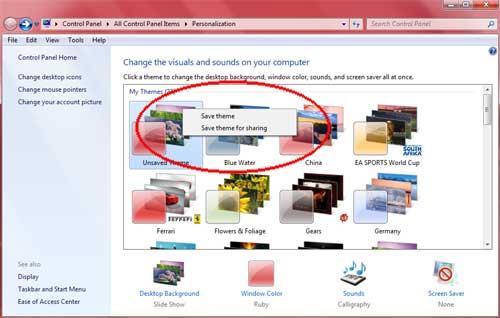 Windows 7 Theme Save Theme