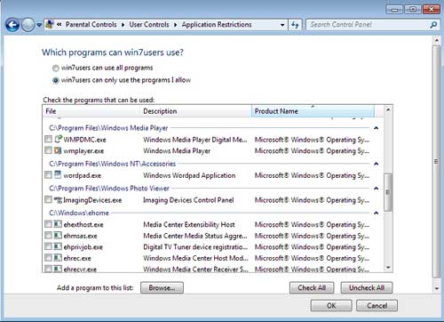 Application Restrictions Windows 7