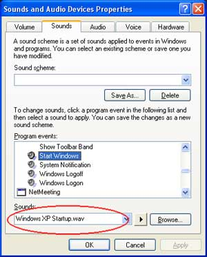 change windows sound
