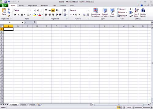 Microsoft Excel 2010 Screen