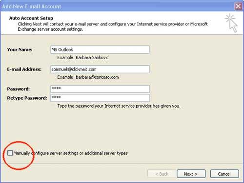 Adding email address to outlook 2007