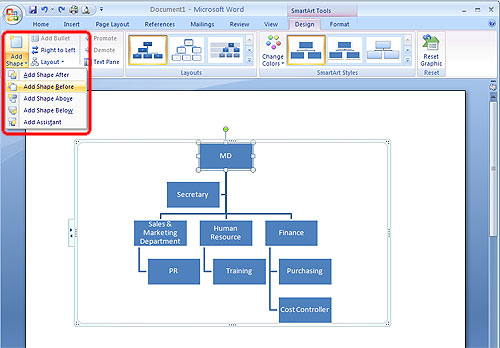 Organization Chart Microsoft Office 2007