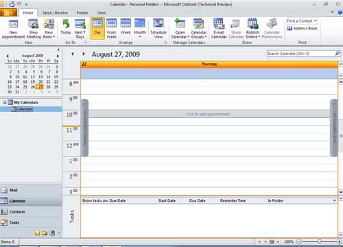 Microsoft Outlook 2007 screen