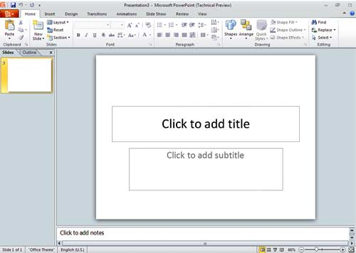 Microsoft PowerPoint 2010 Screen