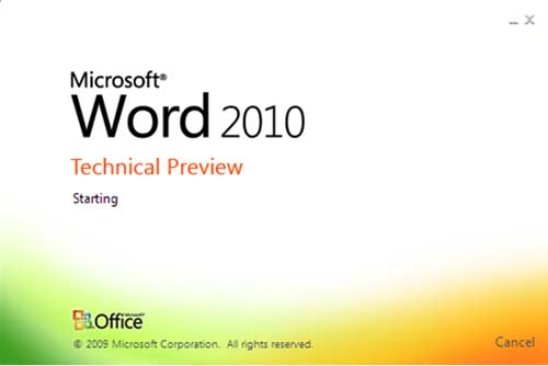 Word 2010 Startup Screen
