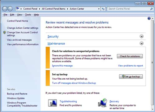 Action Center Windows 7