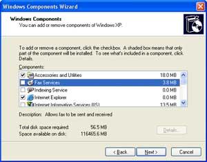 Windows Components wizard